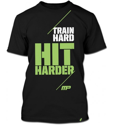 Camiseta Masculina Train Hard, Hit Harder (Preta) - Muscle Pharm