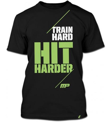 Camiseta Masculina Train Hard, Hit Harder (Preta) - Muscle Pharm