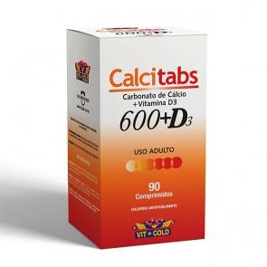 Calcitab 600 + Vitamina D3 (90 comprimidos) - VitGold