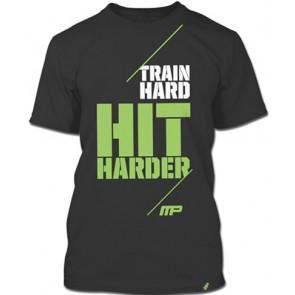 Camiseta Masculina Train Hard, Hit Harder (Cinza) - Muscle Pharm