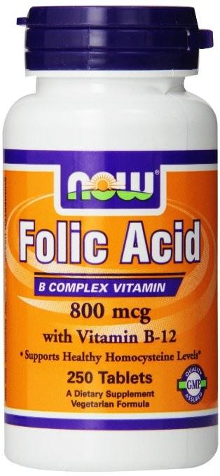 Ácido Fólico c/ Vitamina B12 (250 tabletes) - Now Foods