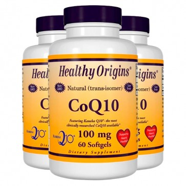 Combo: 3 CoQ10 100mg (60 softgels) - Healthy Origins Healthy Origins