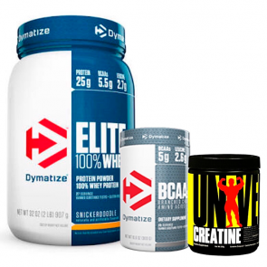 Combo: Elite 100% Whey Protein - Dymatize + Creatina - Universal Nutrition + BCAA - Dymatize