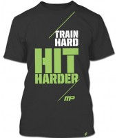 Camiseta Masculina Train Hard, Hit Harder (Cinza) - Muscle Pharm
