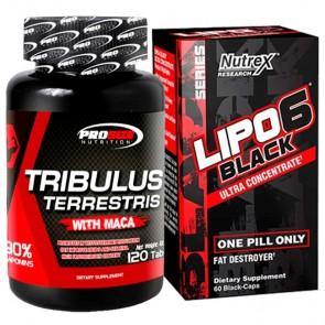 Combo: Tribulus Terrestris - Pro Size + Lipo 6 Black - Nutrex