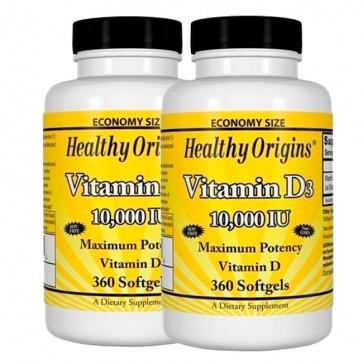 Combo: 2 Vitamina D3 10.000 IU (360 softgels) - Healthy Origins Healthy Origins
