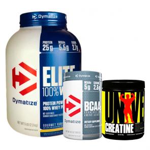 Combo: Elite 100% Whey - Dymatize + BCAA 5050 - Dymatize + Creatina - Universal Nutritio
