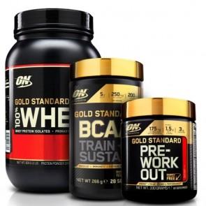 Combo: 100% Whey Gold Standard 900g + BCAA + Pre-Workout Optimum