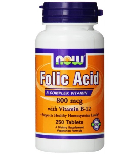 Ácido Fólico c/ Vitamina B12 (250 tabletes) - Now Foods