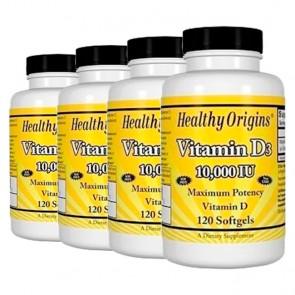 Combo: 4un Vitamina D3 10.000 IU (120 softgels) - Healthy Origins