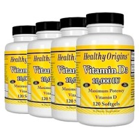 Combo: 4un Vitamina D3 10.000 IU (120 softgels) - Healthy Origins