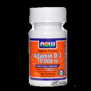A Vitamina D3 de alta potência 10.000 UI é a mais alta concentração de vitamina D3 disponível da Now Foods.