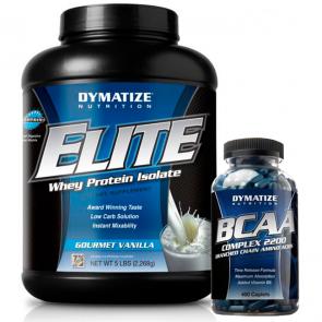 Combo: Elite 100% Whey Protein (2,270kg) + BCAA Complex 2200 (400 caps) - Dymatize