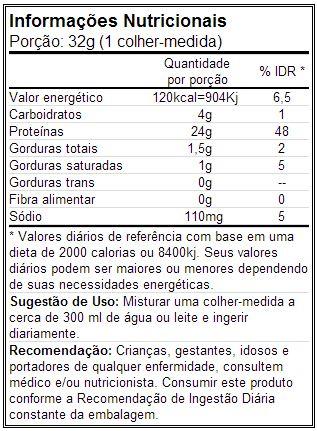 100% Whey Protein - Optimum - Tabela Nutricional
