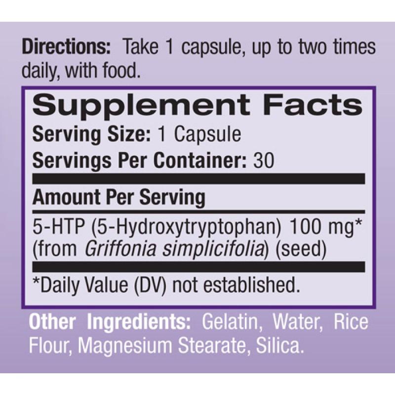 5-HTP - 100mg - Natrol - Tabela Nutricional