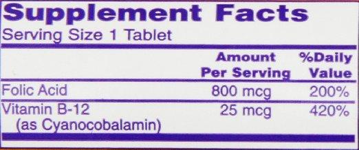 Ácido Fólico NOW FOODS - Tabela Nutricional