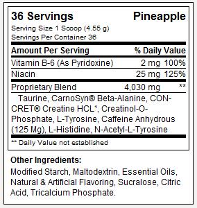 Beta-Cret - Tabela Nutricional