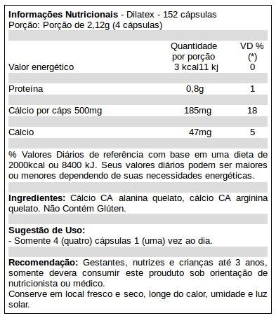 Dilatex - Tabela Nutricional