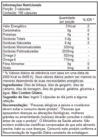EFA Lean Gold - Labrada - Tabela Nutricional