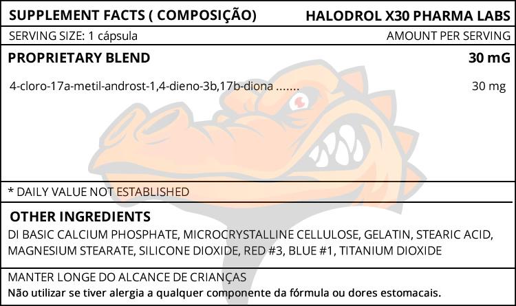 HALODROL X30 - TABELA NUTRICIONAL