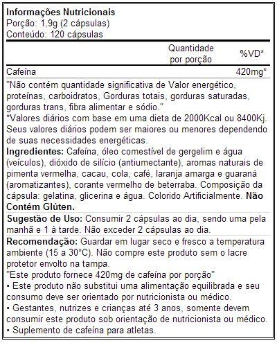 Lipo Cut X - Tabela Nutricional