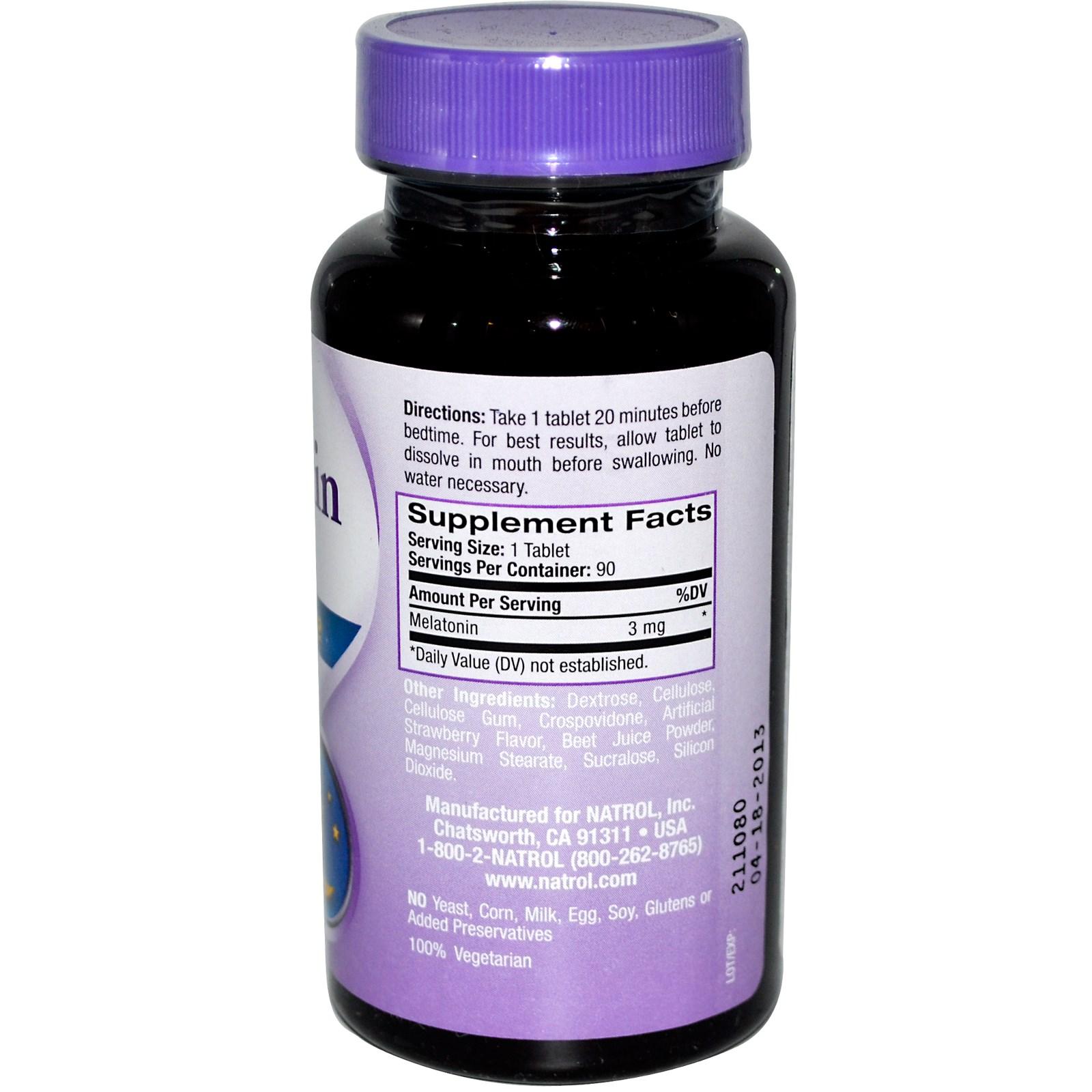 Melatonina Sublingual 3mg - Natrol - Tabela Nutricional