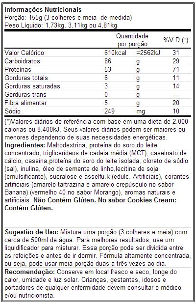 Real Gains - Tabela Nutricional