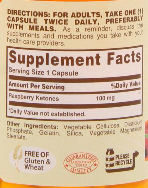 Tabela Nutricional - Raspberry Ketones - Sundown Naturals
