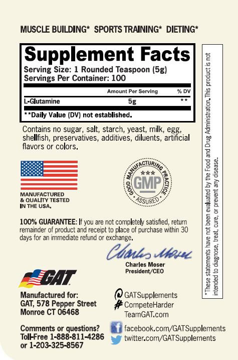 Tabela Nutricional - Glutamina 500g GAT - Jacaré Suplementos