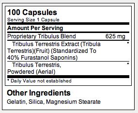 Tribulus Terrestris - Tabela Nutricional