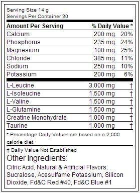 Amino Drive Black - Tabela Nutricional