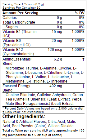 Amino Lift - Tabela Nutricional