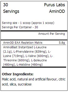 AminOD - Tabela Nutricional - Purus Labs