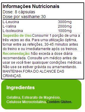 BCAA 3:1:2 MusclePharm - Tabela Nutricional