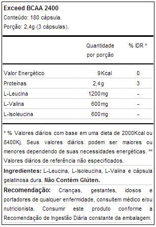 Exceed BCAA 2400 (180 cápsulas) - Advanced Nutrition - Tabela Nutricional