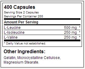 BCAA ON - Tabela Nutricional