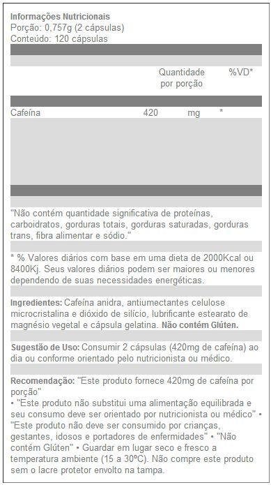 Caffeine - Arnold Nutrition - Tabela Nutricional