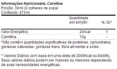 Carnitina Líquida - Universal - Tabela Nutricional