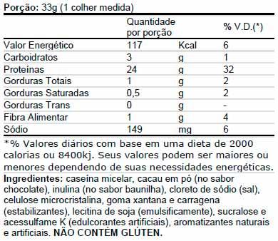 Casein Pro Universal - Tabela Nutricional