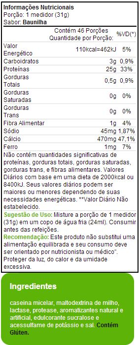 Caseina - Muscle Pharm - Tabela Nutricional