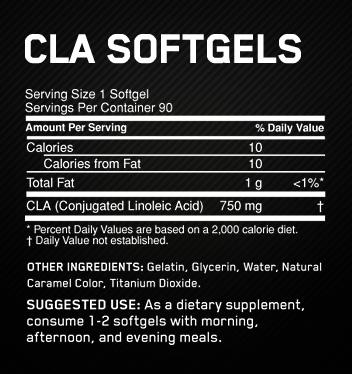 CLA Optimum Nutrition - Tabela Nutricional