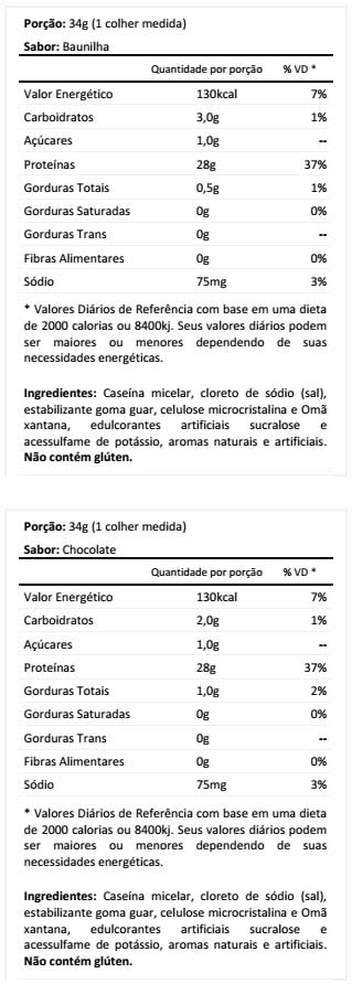 Combat Casein - Tabela Nutricional