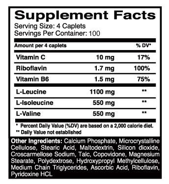 BCAA 2200 Dymatize - Tabela Nutricional