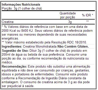 CreaLean Powder - Labrada - Tabela Nutricional