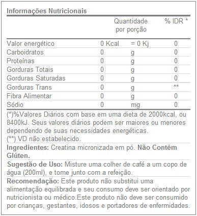 Creatina Optimum - Tabela Nutricional - Nutrex