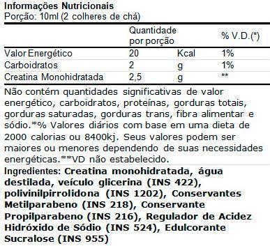 Creatina Plasma VPX - Tabela Nutricional