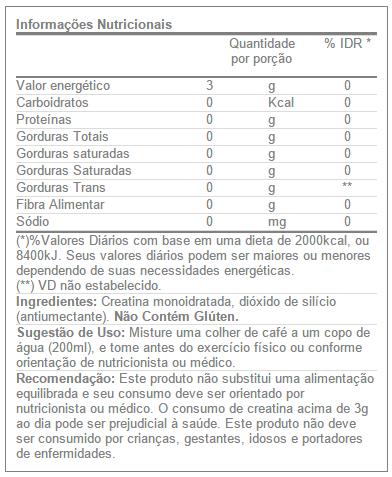 Creatina Fuel 300g - Tabela Nutricional