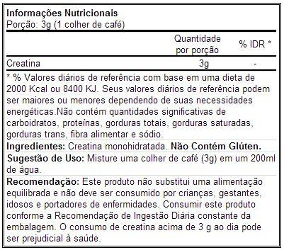 Creatina Powder - Universal - Tabela Nutricional