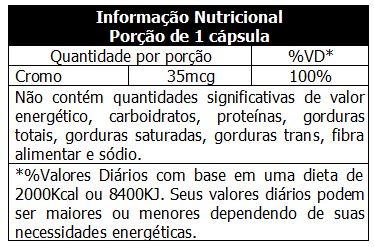 Cromo - Max Titanium - Tabela Nutricional