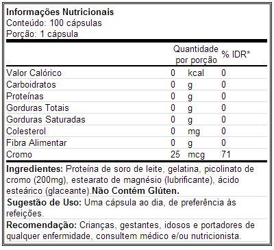 Cromo Universal - Tabela Nutricional